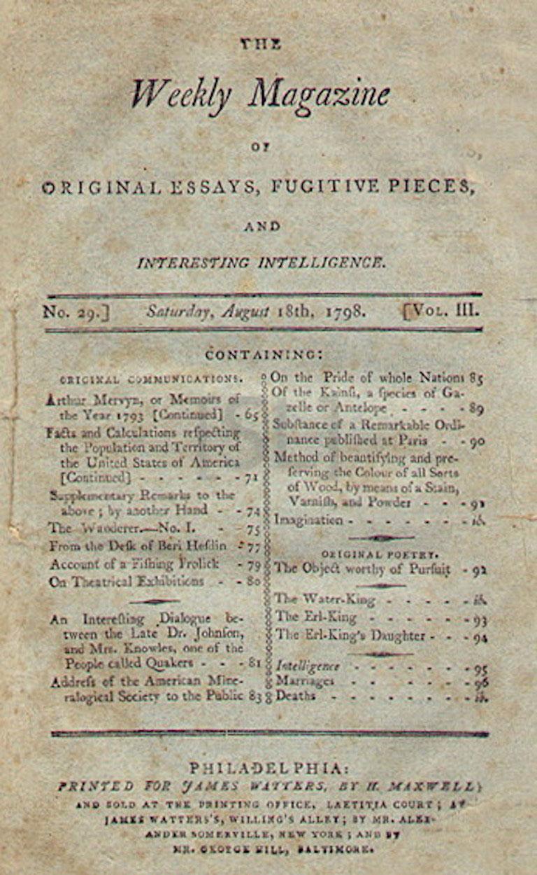Weekly Magazine of Original Essays, Fugitive Pieces, and Interesting Intelligence