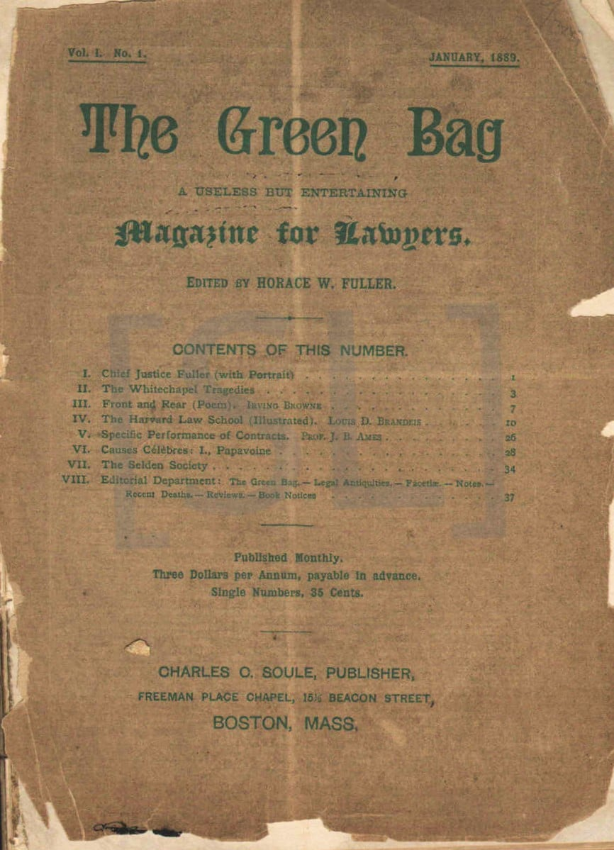 Green Bag. A Useless But Entertaining Magazine for Lawyers