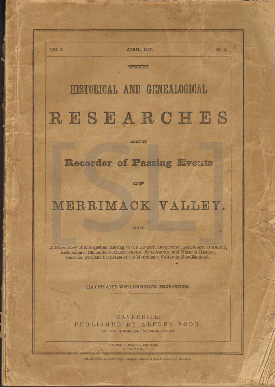 Historical and Genealogical Researches and Recorder of Passing Events of Merrimack Valley