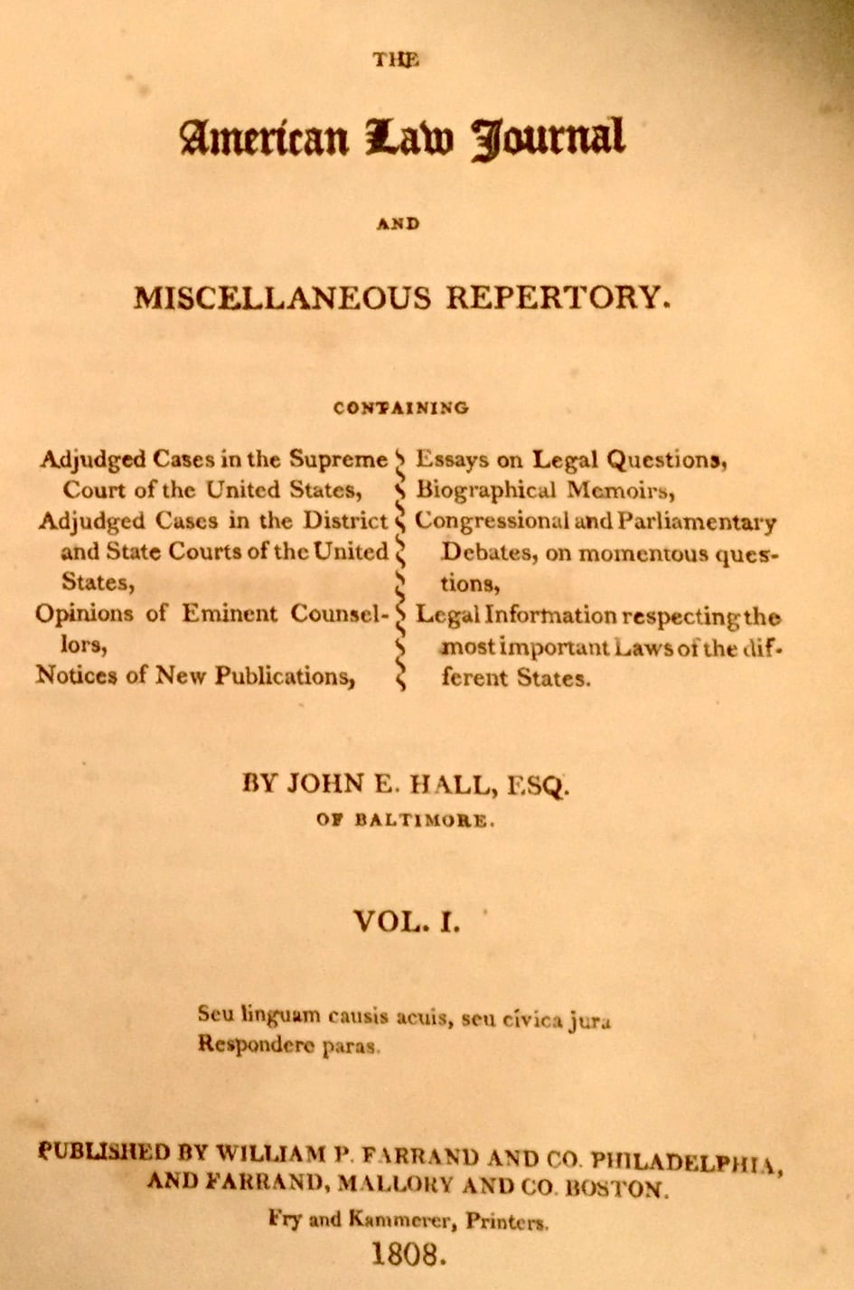 American Law Journal and Miscellaneous Repertory
