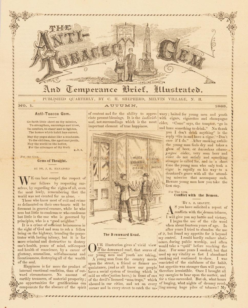 Anti-Tobacco Gem and Temperance Brief