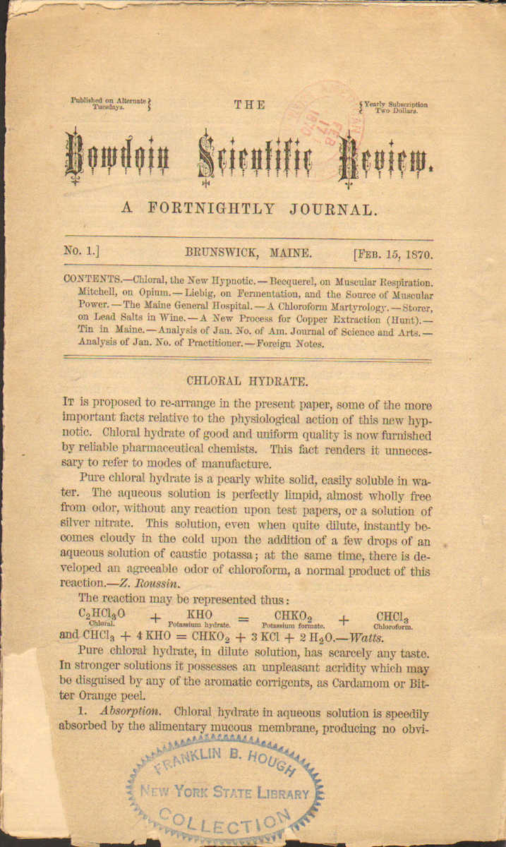 Bowdoin Scientific Review. A Fortnightly Journal