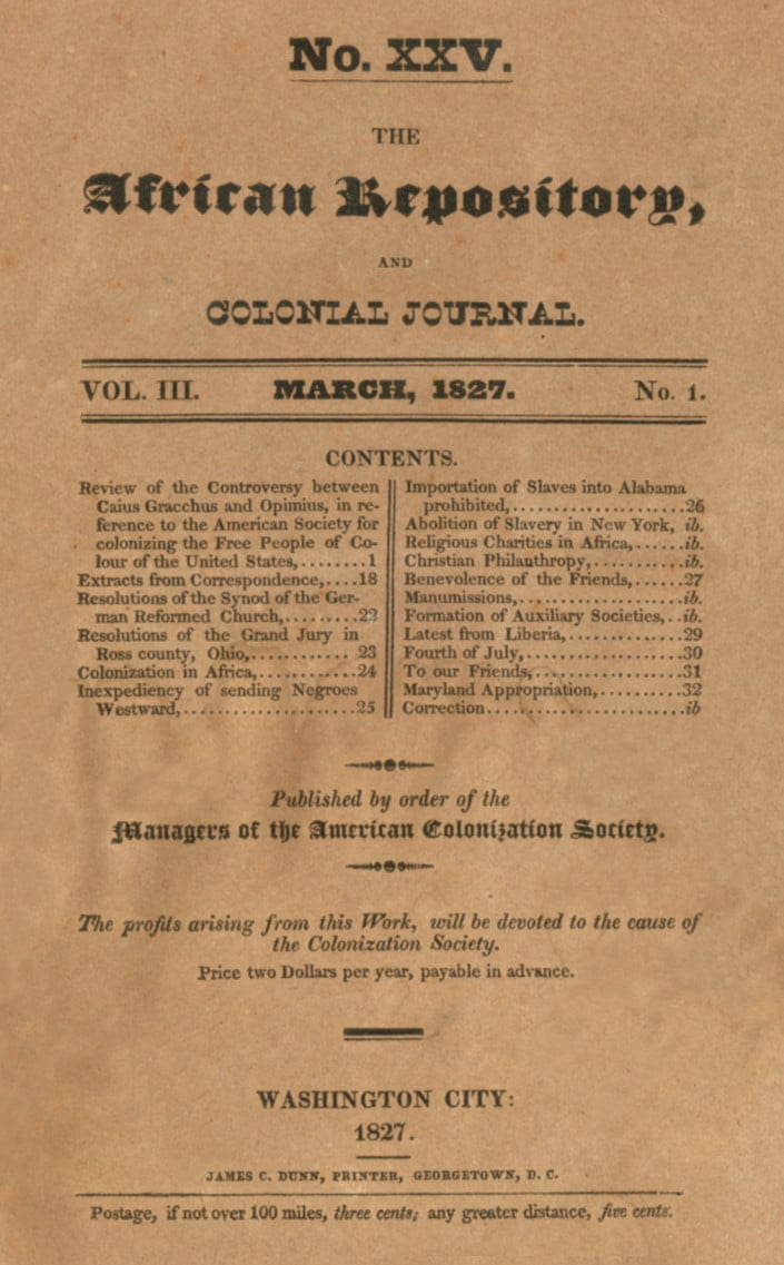 African Repository; and Colonial Journal