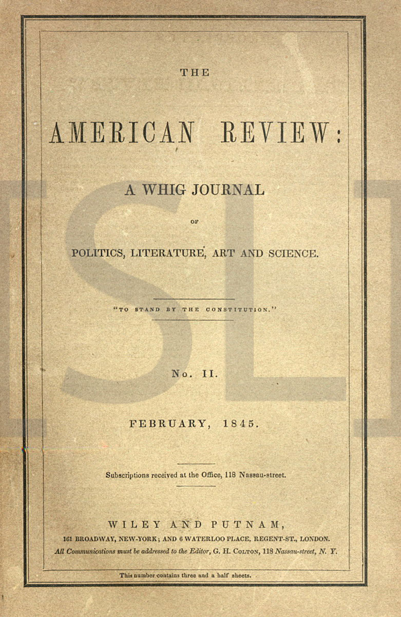 American Review: A Whig Journal of Politics, Literature, Art & Science
