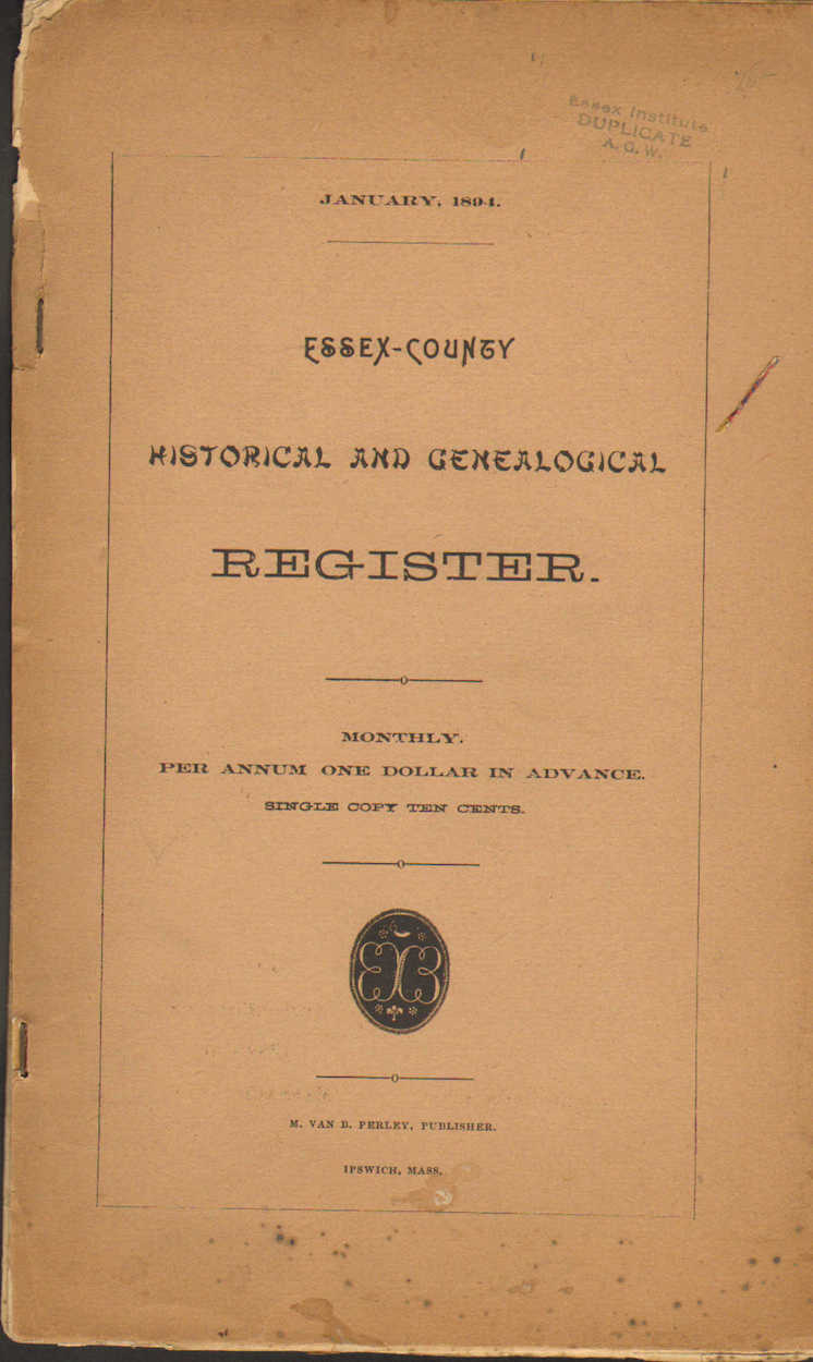 Essex County Historical and Genealogical Register