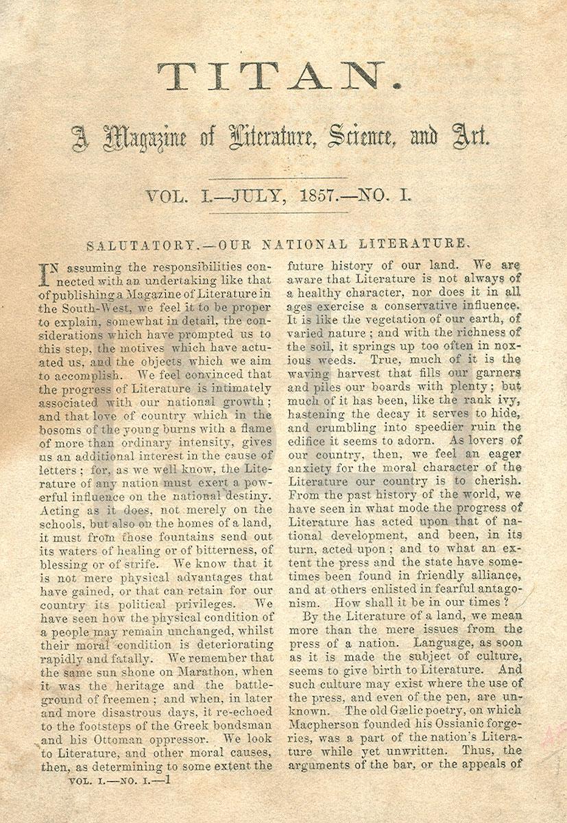 Titan, a Magazine of Literature, Science and Art