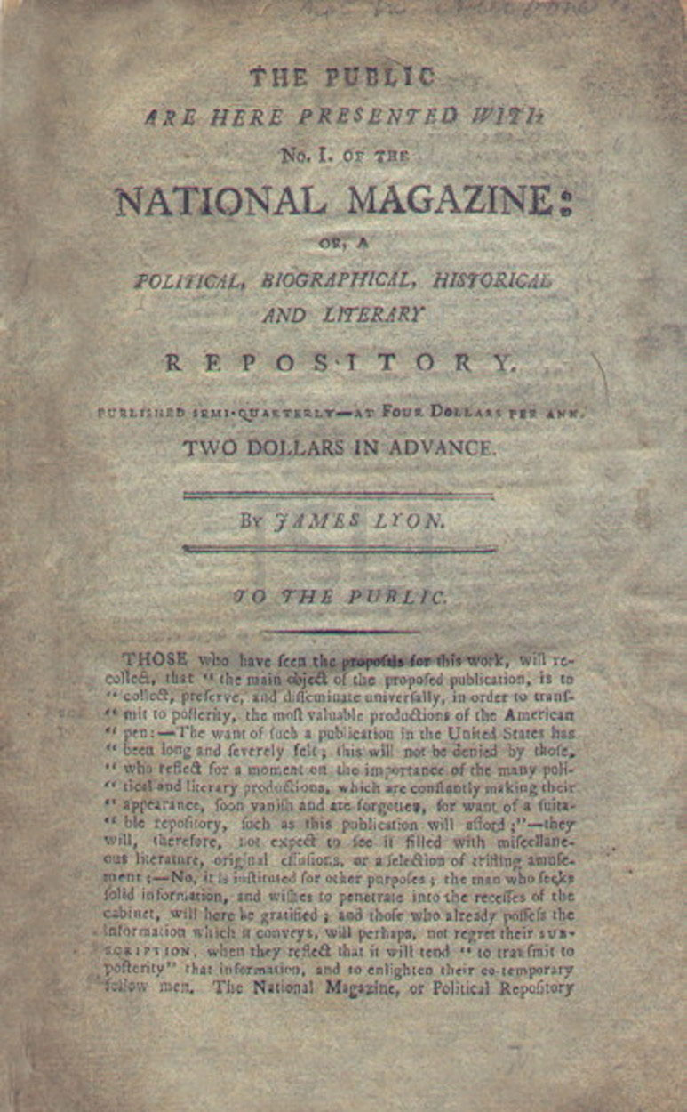 National Magazine, or, A Political, Historical, Biographical and Literary Repository.