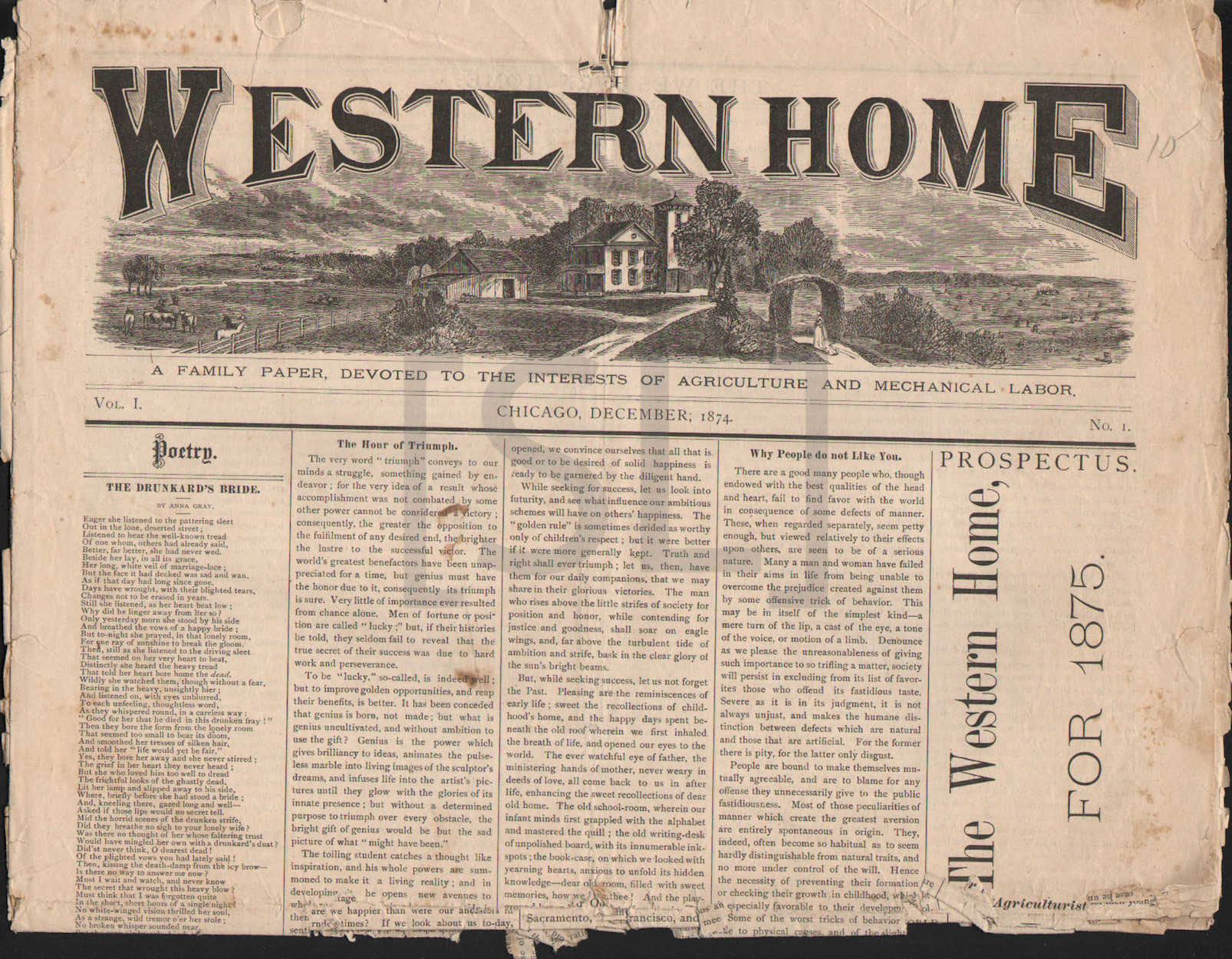 Western Home, A Family Paper, Devoted to the Interests of Agriculture and Mechanical Labor