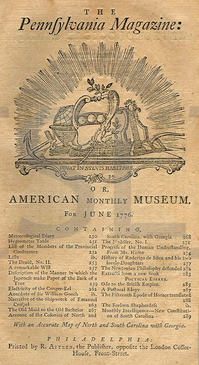 Pennsylvania Magazine: Or American Monthly Museum