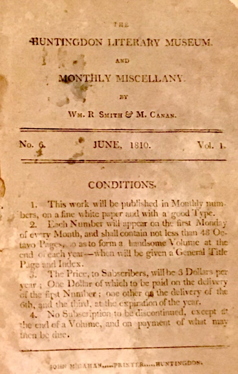 Huntingdon Literary Museum and Monthly Miscellany
