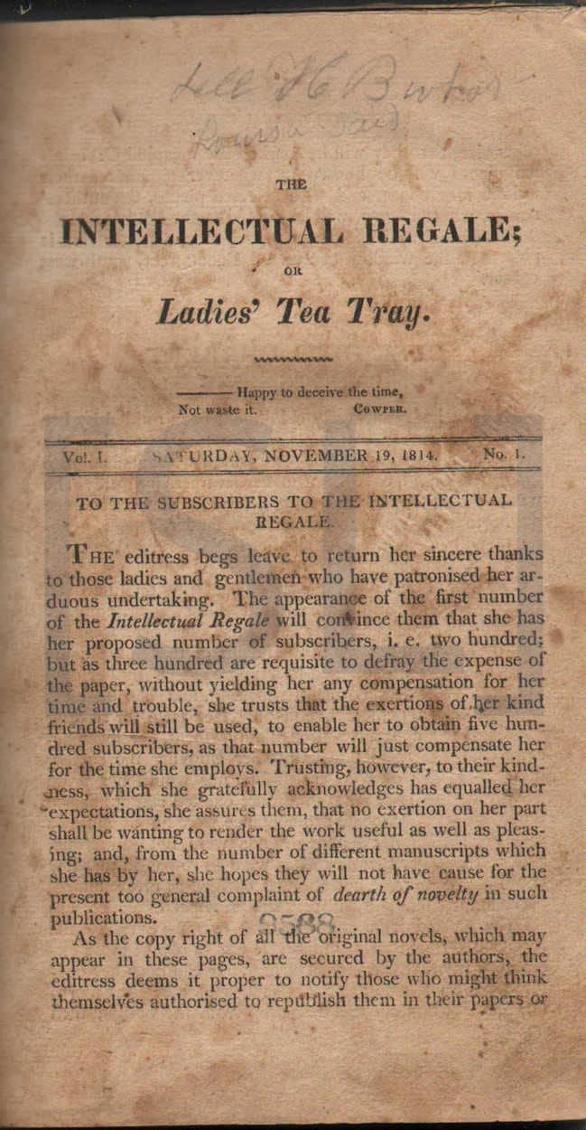 Intellectual Regale; Or Ladies' Tea Tray