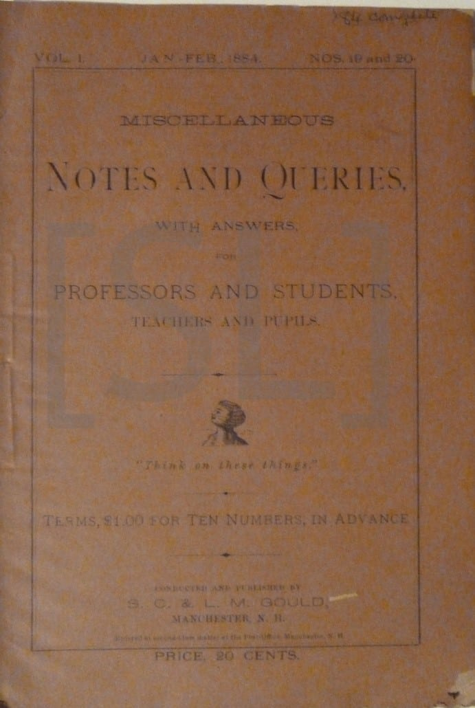 Miscellaneous Notes and Queries