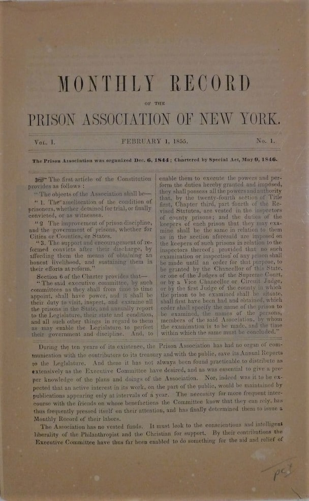 Monthly Record of the Prison Association of New York
