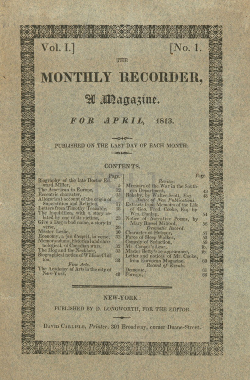 Monthly Recorder