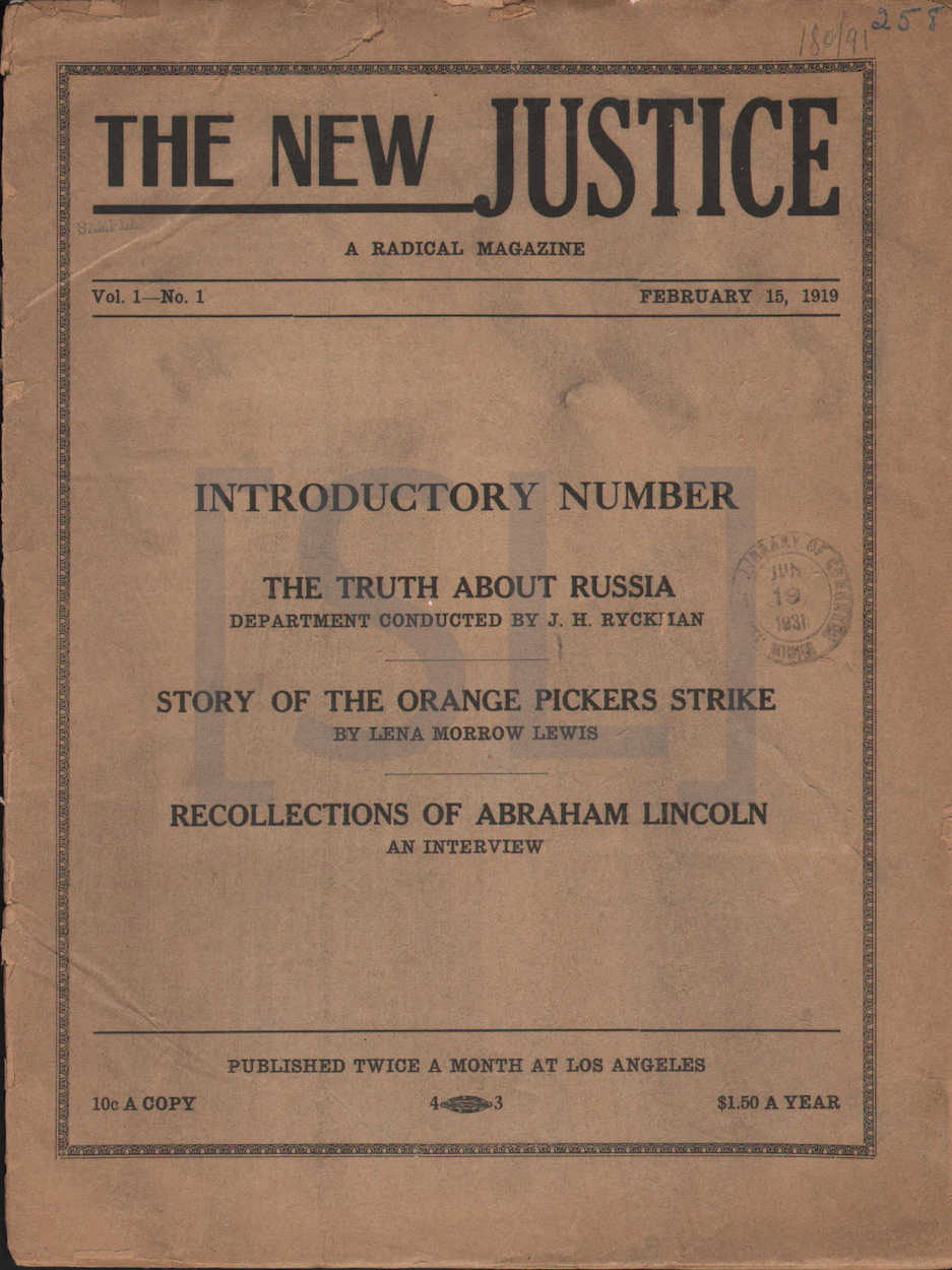 New Justice. A Radical Magazine