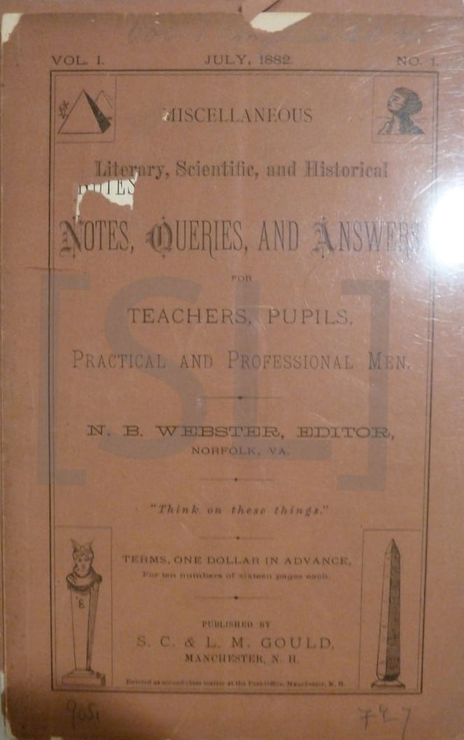 Notes, Queries, And Answers for Teachers, Pupils, Practical and Professional Men