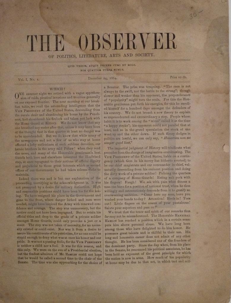 Observer of Politics, Literature, Arts and Society