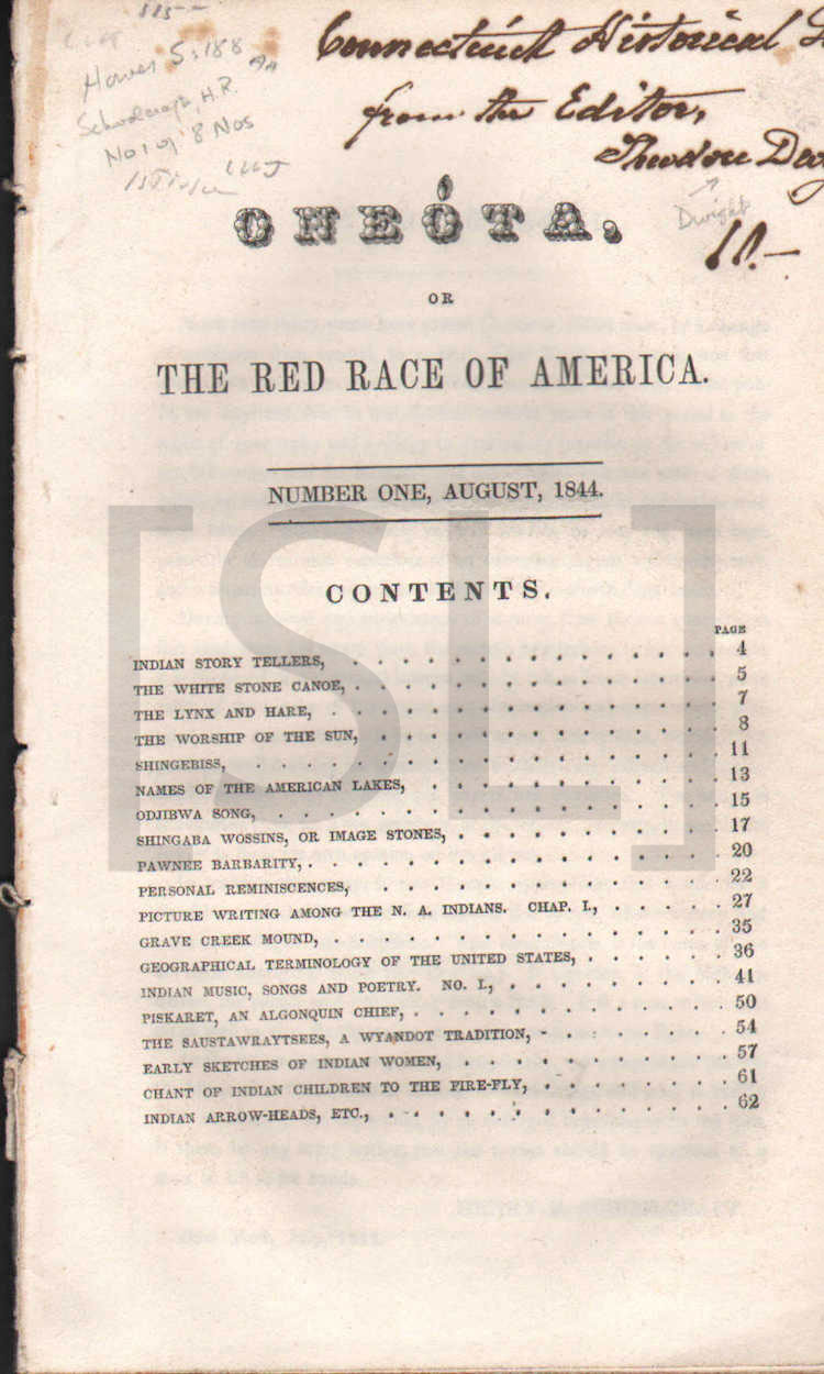 Oneota, Or The Red Race of America