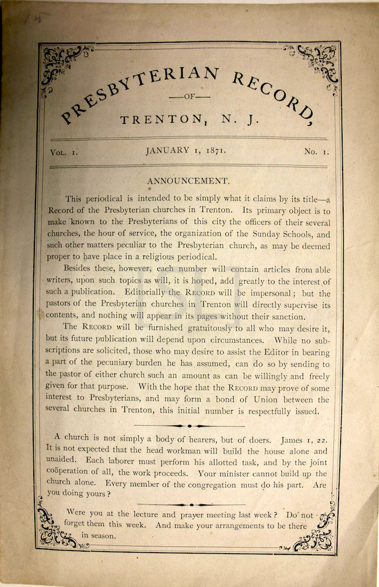 Presbyterian Record of Trenton, N.J.