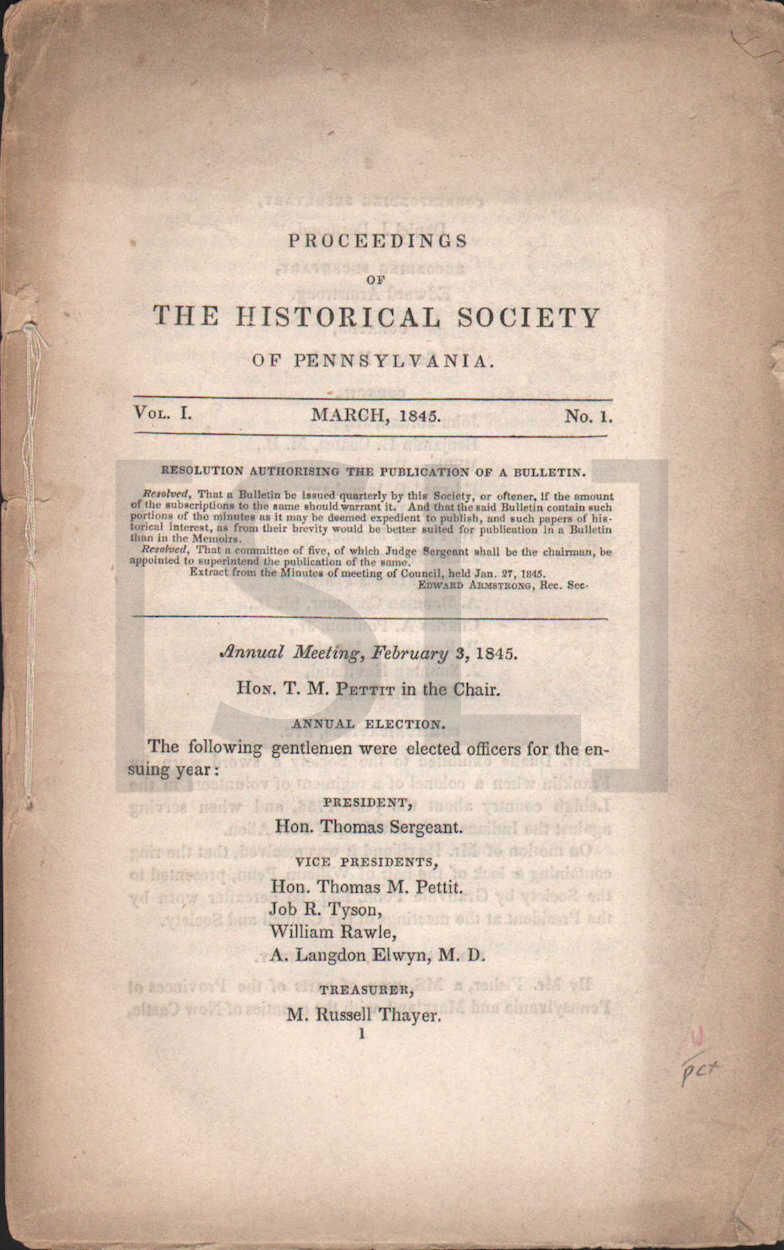 Proceedings of the Historical Society of Pennsylvania