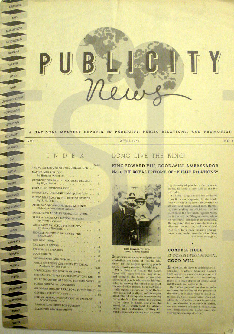 Publicity News; A National Monthly Devoted to Publicity, Public Relations, and Promotion