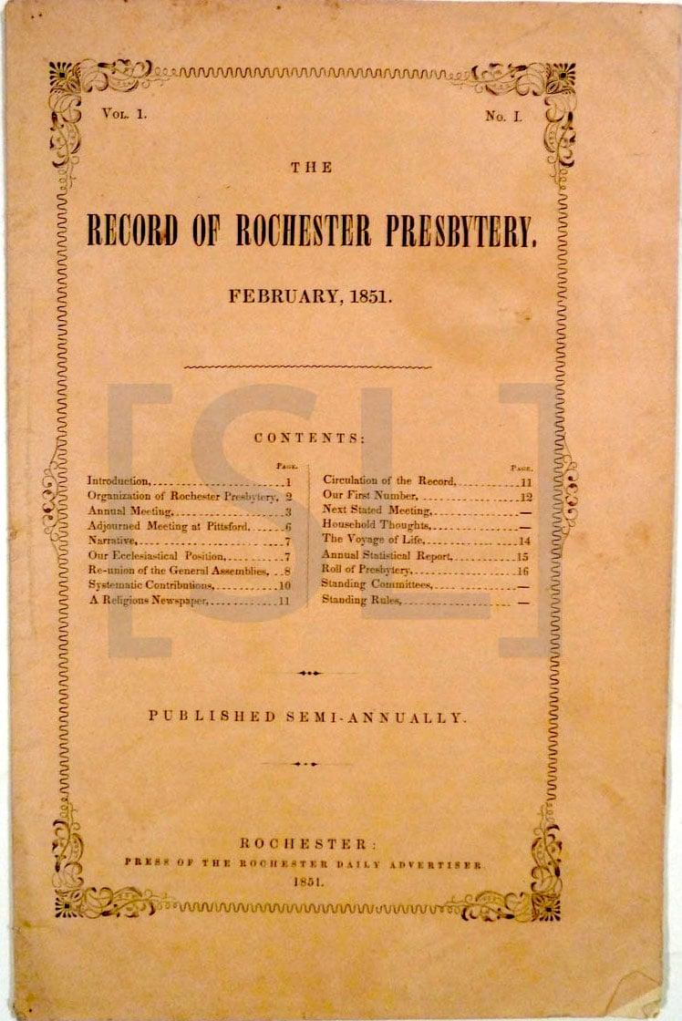 Record of Rochester Presbytery