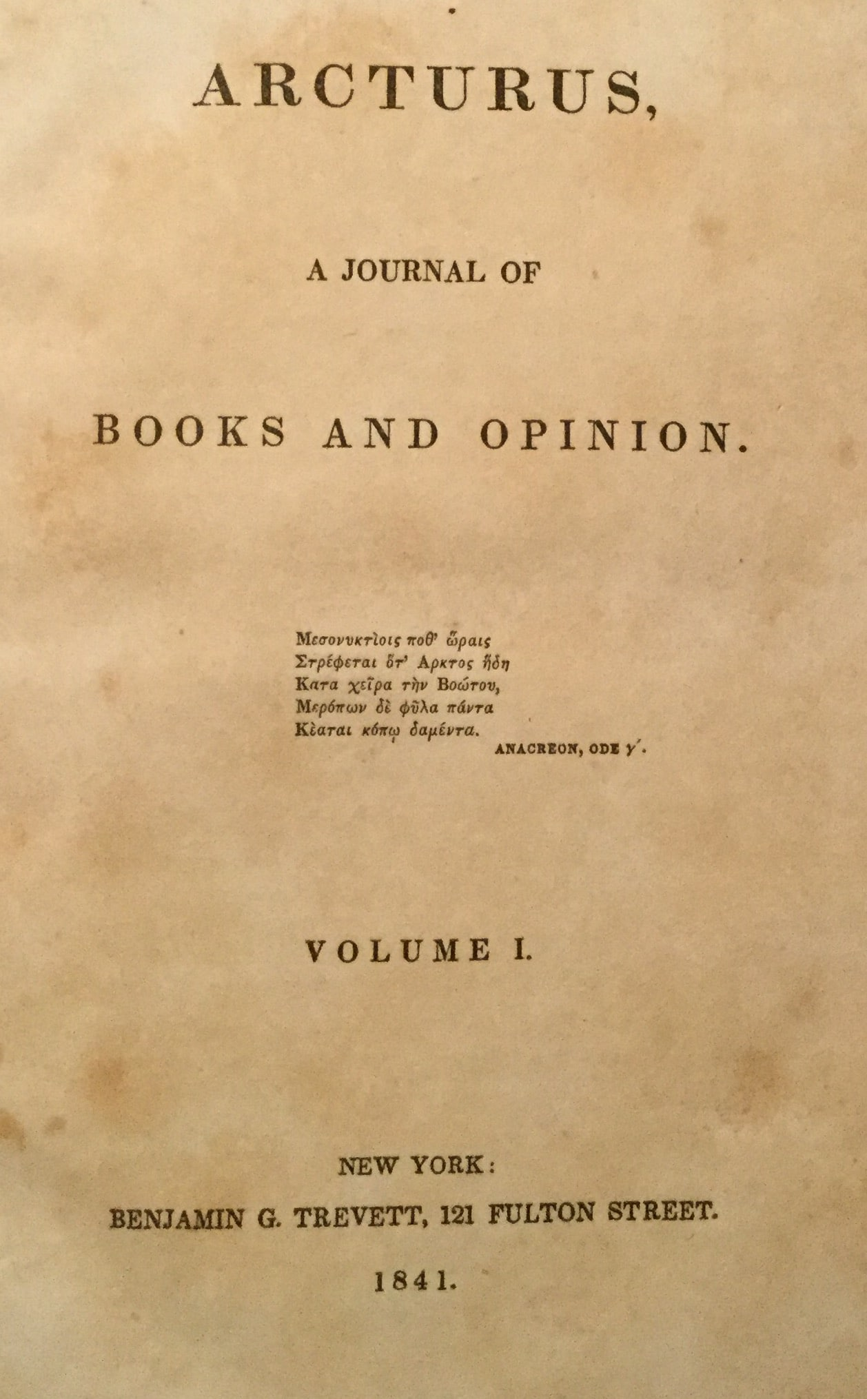 Arcturus, A Journal of Books and Opinion
