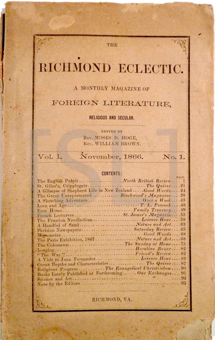 Richmond Eclectic. A Monthly Magazine of Foreign Literature, Religious and Secular