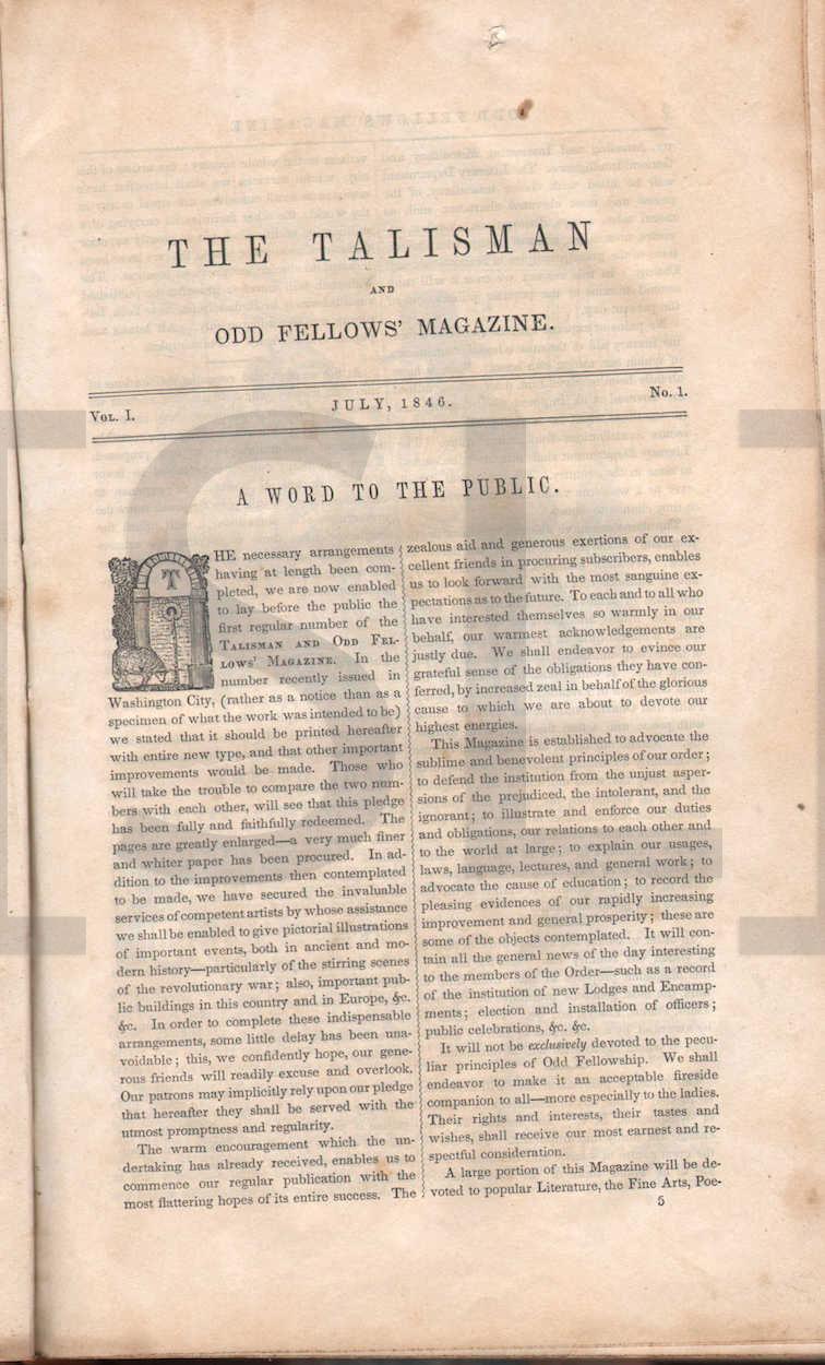 Talisman; Friendship, Love, & Truth; and Odd Fellows' Magazine