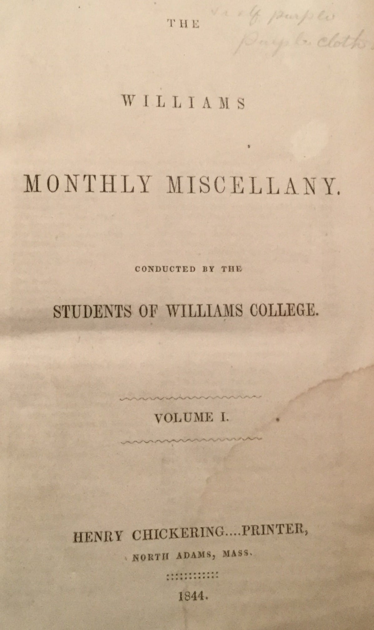 Williams Monthly Miscellany