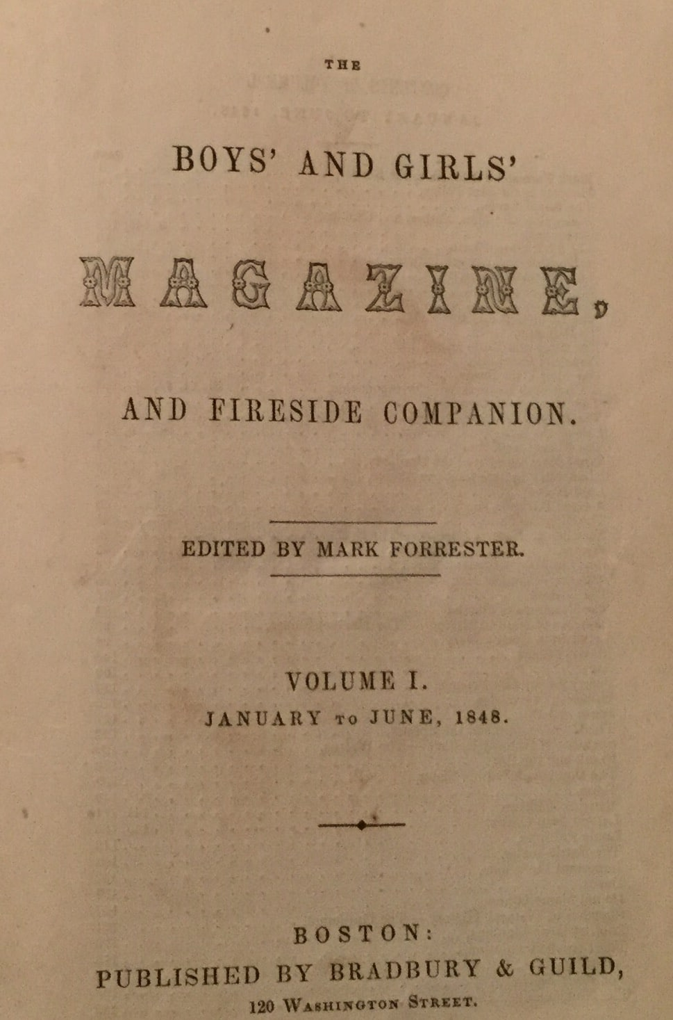 Boy's and Girl's Magazine and Fireside Companion