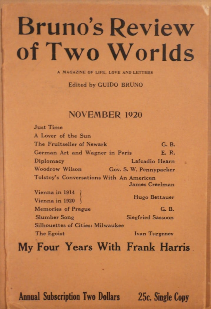 Bruno's Review of Two Worlds; A Magazine of Life, Love and Letters