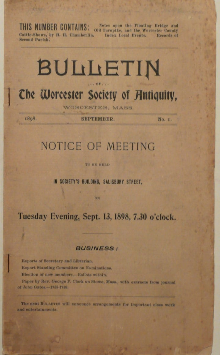 Bulletin of the Worcester Society of Antiquity